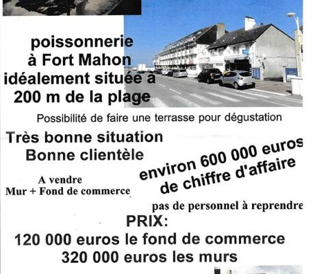Poissonnerie à vendre à Fort Mahon (80)